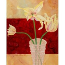 Lillies In Vase I By Claire Pavlik Purgus 20x16 Art Print Poster Yellow Lillies