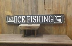 Ice Fishing Rustic Engraved Wood Sign, Cabin Décor, Lodge Sign, Up North Sign