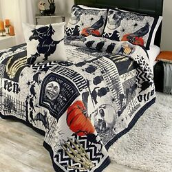 Nevermore Halloween Quilt Set With Pillow Shams - 4 Pieces