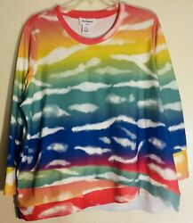 Ombre Rainbow And Clouds Sweatshirt Top - Sz 1x - 3x - Msrp 68 - Be The Rainbow