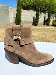 See By Eddie Harness Ankle Boots Booties Eu 38 Us 7.5 Taupe Suede New 425