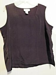 Susan Graver Style black polyester square neck shell top sleeveless XL $5.99