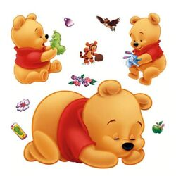 Winnie The Pooh Wall Stickers For Kids Rooms Removable Baby Bedroom Cartoon