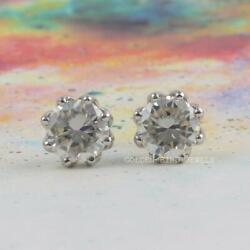 Unique Screw Back Earrings 7 Tcw Colorless Round Moissanite White Gold Earrings