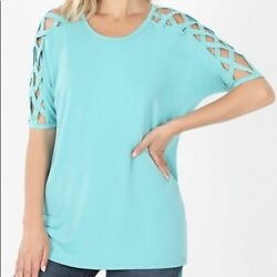 Zenana Premium Criss Cross Shoulder Mint XL $15.00