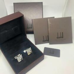 Dunhill Cufflinks Silver X Shell Square Design Men's Accessories With Case Used