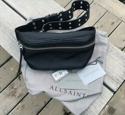 AllSaintsSid Nylon and Leather Bumbag Fanny Pack Black and Silver Bag $99.00