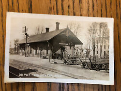 Antique Rppc Real Photo Post Card Coldwater Michigan Railroad Depot Nice Train