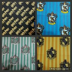 HARRY POTTER HOUSES CREST Themed 4 Fat Quarter Lot FABRIC 100% COTTON BRAND NEW $16.50