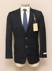 New With Defects Mens 36r 42l Navy Blue Wool Blend Blazer