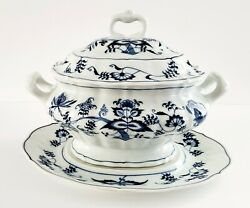 Blue Danube Serving Bowl Soup Dish With Lid And Plate Blue And White