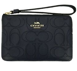 Nwt Coach Corner Zip Wristlet Wallet In Perforated Sig Leather Midnight Rv 88