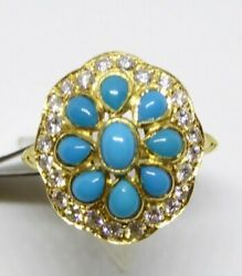 Georgian Style Turquoise {fine} And Diamond Oval Cluster Ring In 18ct Yellow Gold