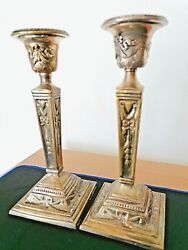 Antique Pair Of Bronze Candlesticks Holders X2 Vintage 1800and039s Heavy Solid 1.2kgs