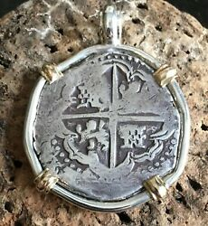 Pirate Coin Treasure Piece Of Eight Hand-struck Authentic 8r Set Ss/14k Pendant