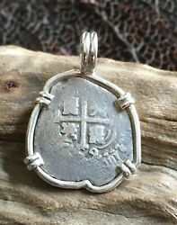 Pirate Coin Treasure Piece Of Eight Hand-struck Authentic 1 Reale Set Ss Pendant