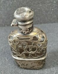 Sterling Silver Overlay Whiskey Flask