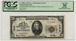 1929 20 Ty1 First Nb Of San Mateo County At Redwood City Ca Pcgs Vf 30 Apparent