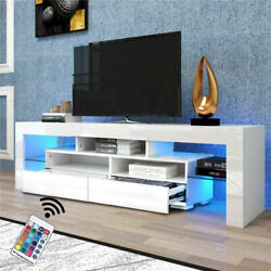 Tv Stand Cabinet Unit Console High Gloss Modern With Storage Drawer Led Shelf