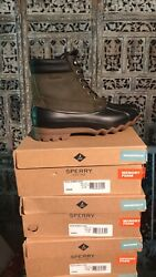 Mens Sperry Top-sider Rubber Hash Waterproof Duck Boots Green/black Size 7.5 M
