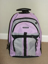 Intrepid Backpack on Wheels Pink Rose Gray 19 in Girl School Bag Travel Carry On $19.99