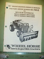 Wheel Horse 48 Snowthrower Owners Manual