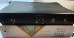Lnib Esv Global Impact Bible Charcoal Leatherluxe Museum Of The Bible Red Letter