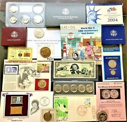 Collection Of Coins And Currency Sets Silver, Gold, Collectible Set 1