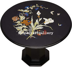 24 Black Marble Coffee Table Inlay Handmade Pietra Dura Work With Marble Stand