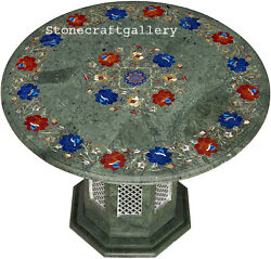 24 Marble Table Top Semi Precious Stones Pietra Dura Art Work With Marble Stand