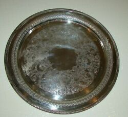 Vintage Wa Rogers 162 Round Silver Plated Pierced Serving Beverage Tray 15