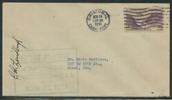 Charles Lindbergh Signed First Flight Cover Canal Zone To Usa 11/25/1931 Wl4456