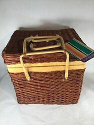 New Vintage Sun Country Picnic Basket And Dishes