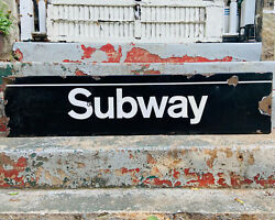 Vintage New York City Subway Sign Rare Original Porcelain Enamel Train Railroad