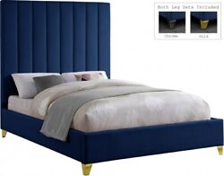 Contemporary Bedroom Furniture Navy Velvet 1pc Queen Size Bed Gold And Chrome Legs