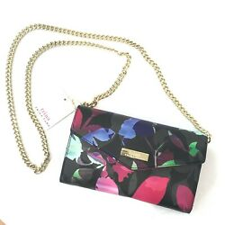 Trina Turk Crossbody Wallet Phone Case Holder Floral Black Chain NEW $38.00