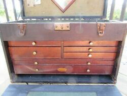 Vintage H Gerstner And Sons 7 Drawer Machinist Tool Chest + Lots Of Old Tools