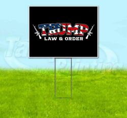 Trump Law And Order 2020 18x24 Yard Sign With Stake Corrugated Bandit