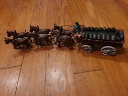 Vtg Cast Iron 6 Horse Clydesdales Drawn Wagon Beer Keg With 18 Barrels Toy