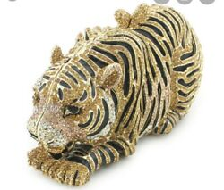 Natasha Crystal Tiger Luxury Clutch Evening Bag Gold amp; Black w Chain NWOT $220.98