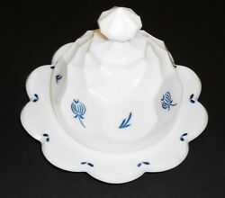 Round Milk Glass Heavy Butter Dish Or Round Cheese Server With Cover