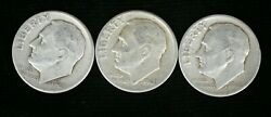 1946-p 1947-p And 1948-p Roosevelt Dimes - Free Shipping Ac-1260