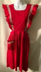 Vintage Red Cotton Ruffle White Embroidery Full Dress Apron Pinafore M Great
