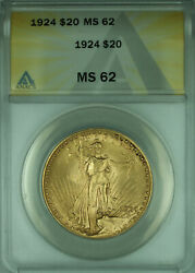 1924 St. Gaudens Double Eagle 20 Gold Coin Anacs Ms-62