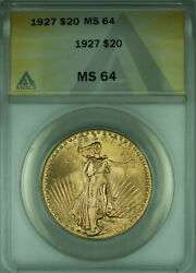 1927 St. Gaudens Double Eagle 20 Gold Coin Anacs Ms-64