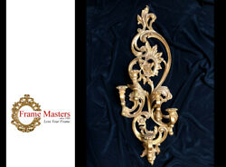 Candle Holder Wall Mount, Wall Fireplace Decor, Gilded In Genuine 22k Gold Leaf