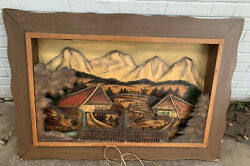 German Antique Black Forest Mountain Cabin Sculpture Old Master Carving Painting