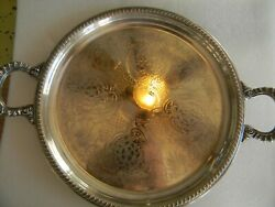 Vintage English Silver Mfg. Corp. Mrr S - Made In Usa - Round Tray With Handles