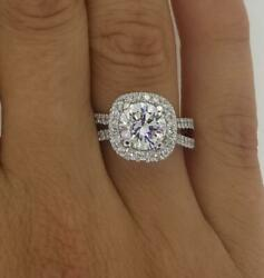 2.4 Ct Halo Double Row Round Cut Diamond Engagement Ring Vs1 F White Gold 14k