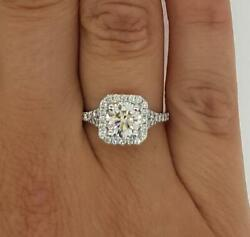 1.9 Ct Cathedral Pave Round Cut Diamond Engagement Ring Vs1 D White Gold 14k